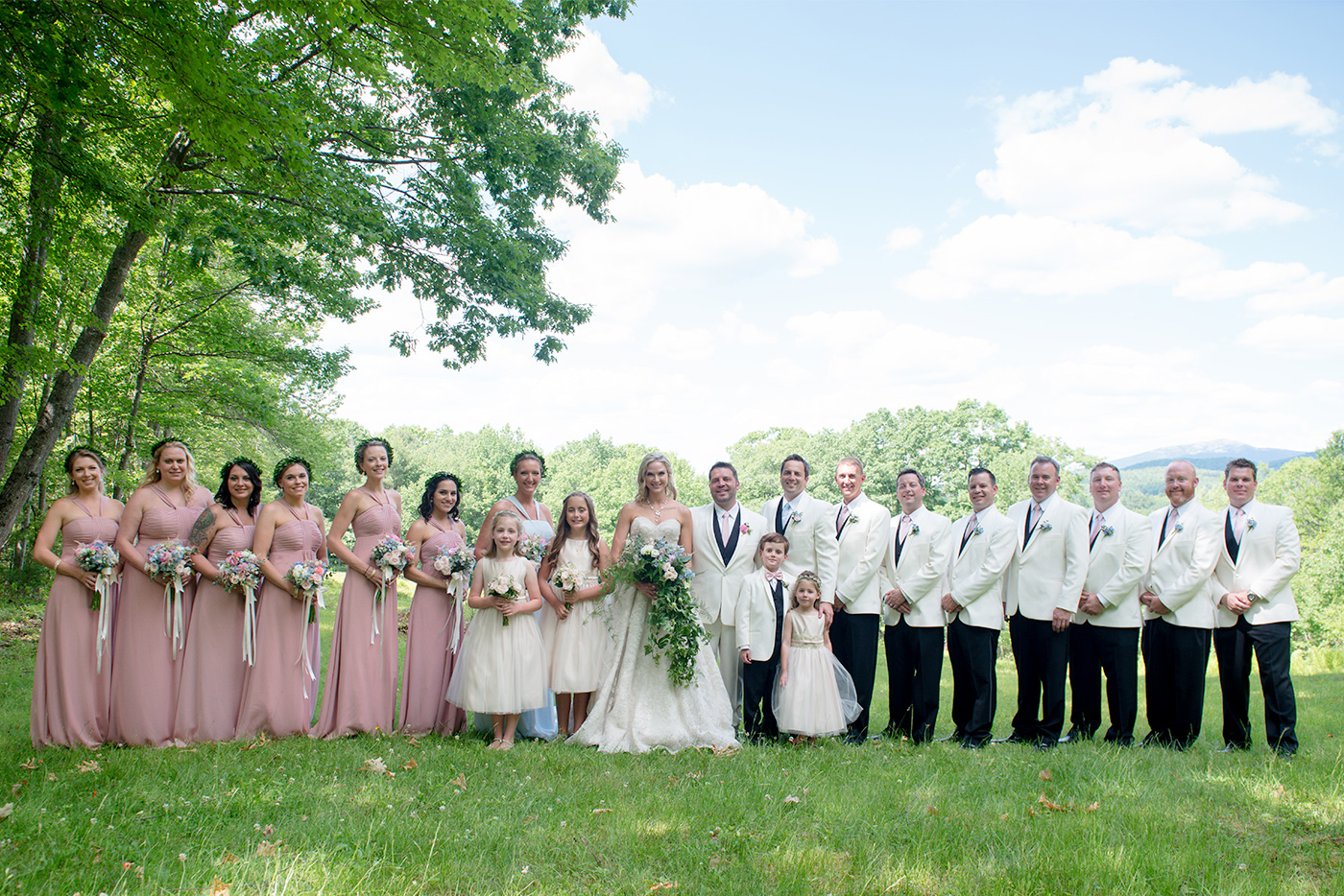 bridal party wedding photos nh